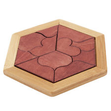 Wooden Puzzles Tangram /jigsaw Toys Board Wood Heart Shape Puzzle Toy LH