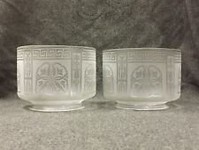 Pair c.1880's Acid Cut-Back Clear Glass 5 in Fitter Gas, Oil Lamp Shades NR