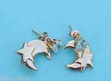 Genuine Star Blue Topaz Post Dangle Earrings w/ Moon-Stars - 14k Yellow Gold