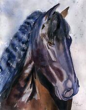 Original Friesian Morgan Black Horse Painting Art Painting Portrait Andalusian