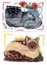 E33 PAIR swap playing cards CUTE LITTLE CATS KITTENS ARTWORK unusual fluffy cats