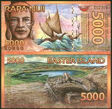 ISLA DE PASCUA EASTER ISLAND 5000 RONGOS MOAI POLYMER FANTASY BANKNOTE - UNC!