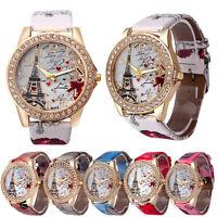 Retro Women's Fashion Leather Band Analog Quartz Round WristWatch Bracelet Watch