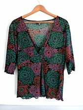 "Ladies Lovely Katies Green Mix Floral V Neck Wrap Top Size XL Pit~Pit 20"" Vgc"