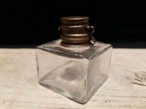 Vintage Antique Style Solid Clear Square Glass Inkwell Ink pot Bottle