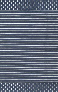 Morse Awning Stripes Navy Blue Hand-Tufted 100% Wool Soft Area Rug Carpet.