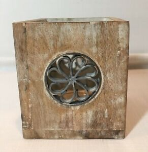 Rustic Natural Wood and Metal Tea Light Candle Holder With Glass Insert