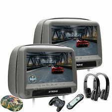 "2Pc 9"" Car Pillow Headrest Monitor HDMI DVD Player Games+Headphones Zipper Cover"