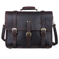 """Men's Large Genuine Leather Backpack 17"""" Messenger Bag Laptop Weekend Travel"""