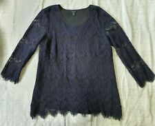 VERGE NZ EMILIA Top Lace Floral Blouse in Navy, Size M BNWOT RRP $230