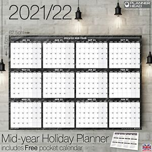 2021/2022 Mid-Year Planner Annual Wall Chart 12 Months Academic Student Uni+Gift