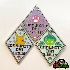 POGO Set of 3 Community Day Hard Enamel Pins Badges *NEW* Inspired by Pokemon GO