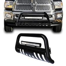 Black Bull Bar Bumper Grille Guard +Skid +126W Led Light for 2009-1017 Dodge Ram
