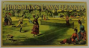 Horsman's Lawn Tennis Metal Sign Victorian Sports Racquet New Vintage Repro Ball