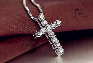 Crystal Cross Pendant Necklace 925 Sterling Silver Chain Womens Jewellery Jesus