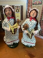 Byers Choice Night Before Christmas Girls 2011 Set Of Two Signed By Joyce Byers