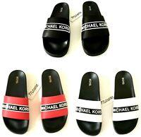 Women MK Michael Kors Demi Flat Slide Sandals PVC