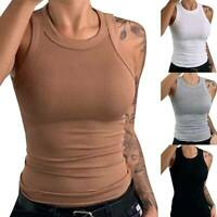Womens Ladies Sleeveless Round Neck Tank Top T-Shirt Slim Fit Solid Vest Blouse@