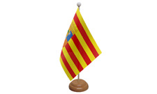 Aragon Spain Spanish Table Flag with Wooden Stand