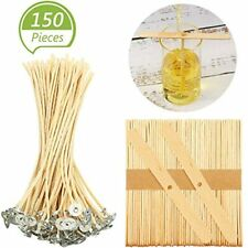 150 Pieces Hemp Candle Wicks Wooden Holder Set, Beeswax Centering Device Tool