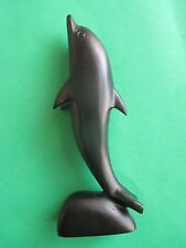 """New Handcrafted FLIPPER Dolphin Dark Brown Wood Carving 6.0"""" H. FREE Shipping"""