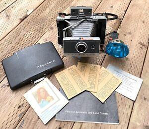 Vintage Polaroid Land Camera Automatic 100 W/ Accessories! Nice!