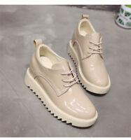 Womens Lace Up Hidden Wedge Heel Casual Round Toe Loafers Fashion Sneakers Shoes