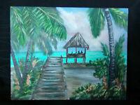 Original Acrylic Painting 8 x 10 Canvas Panel,Hut Gazebo Cat  Coastal Beach Art