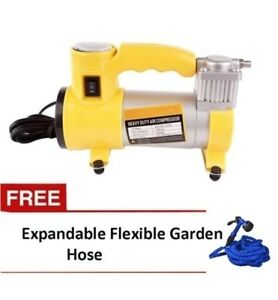 12V Portable Heavy Duty Car Air Compressor (Yellow) with Expandable Hose 150ft