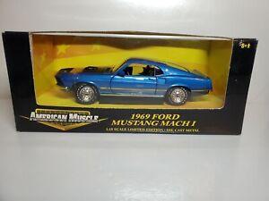 Ertl  American Blue w/Black Hood 1969 Ford Mustang Mach I  Die Cast 1:18