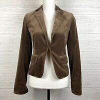J Crew Women's Jacket Blazer Size 2 Velour Velvet Brown Long Sleeve