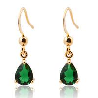 Women Jewelry Sale Rhinestone Yellow Gold Plated Dangle Earrings