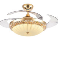 """42"""" Retractable Ceiling Fan Light Lamp Remote Control Dimmable LED Chandelier US"""