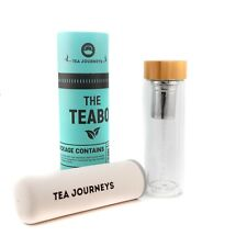 NEW REDESIGN 350 ML DOUBLE WALL GLASS TEA INFUSER BOTTLE + 3 FREE tea samples