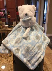 Blue Gray Owl Bear Blankets & Beyond Security Blanket Nunu Lovey Pacifier Holder
