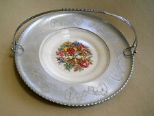 Vintage 22 K White Gold Accent Limoges Plate Dish /Farberware Morning Glory Tray