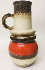 SCHEURICH W.-GERMANY 428-26 'WIEN' FAT LAVA VASE BROWN +RED DRIP GLAZE (26.5cm)