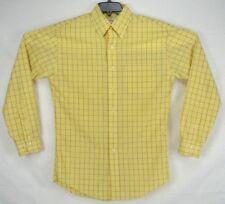 Brooks Brothers Non Iron Yellow Blue Plaid Button Down Long Sleeve Shirt Medium