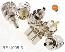 5-Pack UHF PL259 Male Crimp On Connector for RG58 RG142 LMR195 LMR200 Cable