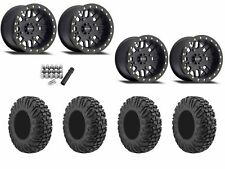 "Method 406 Beadlock 14"" Wheels Rims Black 30"" EFX MotoVator Tires RZR Turbo 1000"