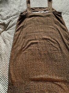 ❤️Next linen blend shift dress size 16T brown excellent used condition!❤