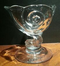 CAMBRIDGE OLD CROWN TUSCAN CLEAR NAUTILUS SHELL FRUIT CUSTARD CUPS DOLPHIN STEMS