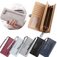 Women Clutch Leather Wallet Long Card Holder Phone Bag Case Purse Handbag--