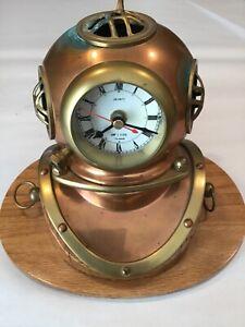 Antique Cooper/Brass Scuba Diving Helmet Clock  W/Unique Custom Made Oak Base