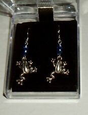 Frog Earrings with 2 blue crystals Nib Amphibian New