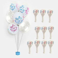10pcs GENDER REVEAL BABY HE OR SHE LATEX BALLOON BOUQUET BOY GIRL PARTY SHOWER