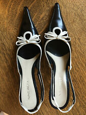 Leather Slingback Sandals 6.5M Nine West wlilybeth Black/Ivory Spring High Heel