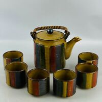 Vintage Otagiri OMC Japan Striped Tea Set Pot & 6 Cups Red Blue Green Yellow MCM