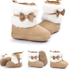 Newborn Kids Baby Girls Winter Snow Shoes Soft Sole Prewalker Crib Plush BOOTS Khaki M