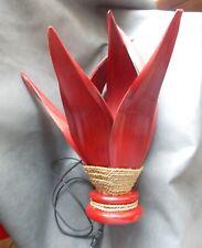 Grande Lampe Artisanale en Feuilles de Cocotier  Rouge - Déco Ethnique - 53 cm